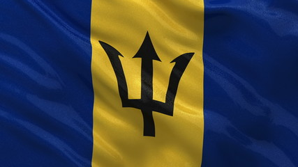 Flag of Barbados waving in the wind - seamless loop