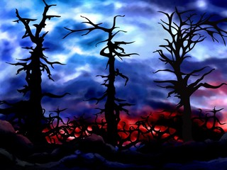haunted spooky forest background illustration