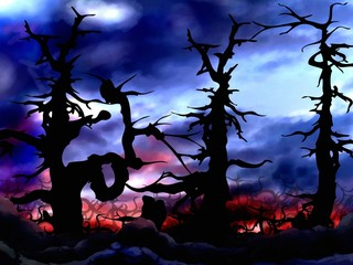 dark and scary forest trees background