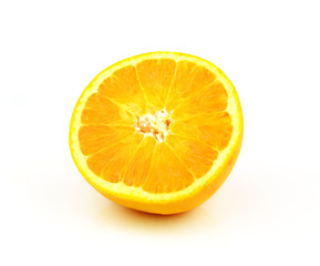Half orange fruit on white background, fresh and juicy