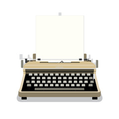 Vintage typewriter with blank paper isolated on white