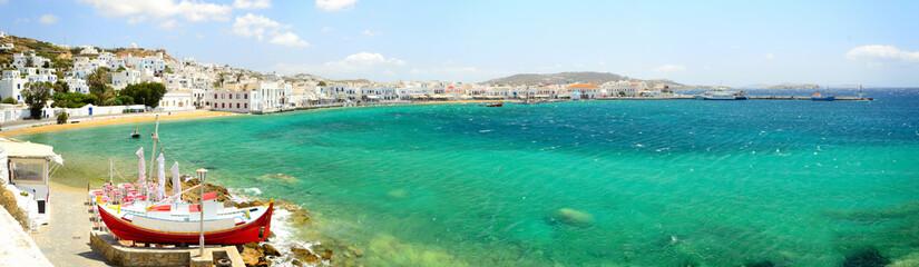 Panorama of Mykonos Chora, Mykonos island, Cyclades archipelago,
