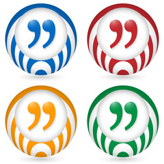 set of four icon with quotation mark