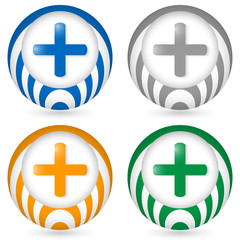 set of four icon with plus symbol
