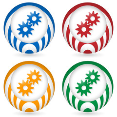 set of four icon with cogwheels