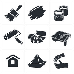 Painting work icon collection