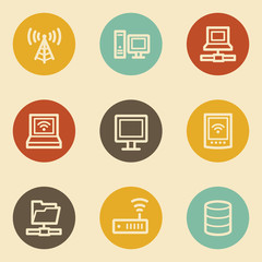 Network web icons , retro circle buttons