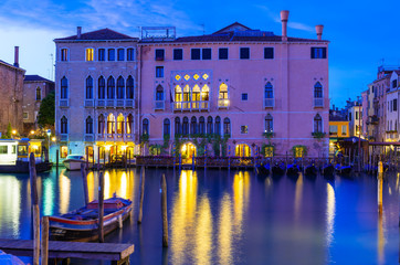 Night view of Grand Canal in Venice, Italy