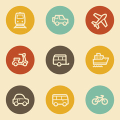Transport web icons, retro circle buttons