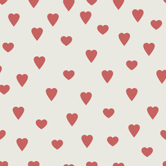 Red hearts, seamless vector pattern