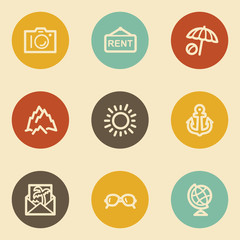 Travel web icon set 5, retro circle buttons