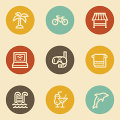 Vacation  web icons, retro circle buttons