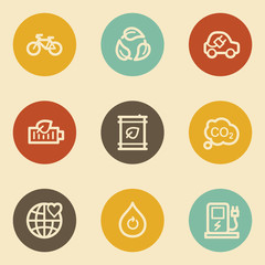 Ecology web icon set 4, retro circle buttons