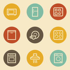 Home appliances web icons, retro circle buttons