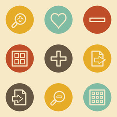 Image viewer web icon set 1, retro circle buttons