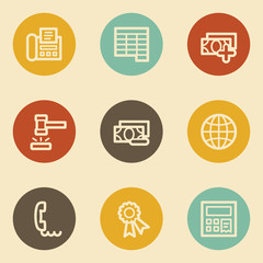 Finance web icon set 2, retro circle buttons