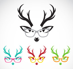 Vector images of deer wearing glasses