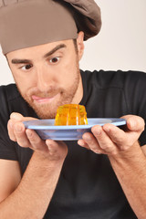 Man watching a gelatin dessert