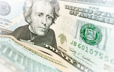 twenty dollar banknote closeup