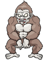 Vector illustration of cartoon Angry monkey