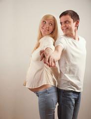 Happy attractive future parents