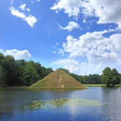 Pyramid on water in park of Branitz in Germany