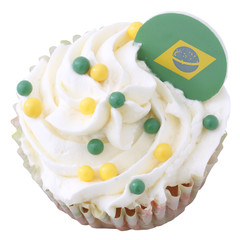 Brazil footbal world cup 2014l cupcake isolated on white