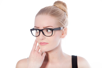 Blond woman wearing black framed eyeglasses