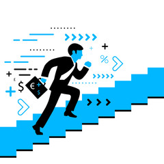 Vector illustration of a man running up the stairs with a briefc