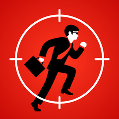 Vector illustration of a businessman runs at gunpoint