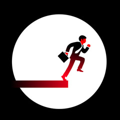 Vector illustration of a red businessman in a black suit, tie an