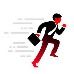 Vector illustration office man runs  in a suit, tie and with bri