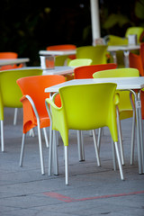 Outdoor furniture of a restaurant or a cafeteria