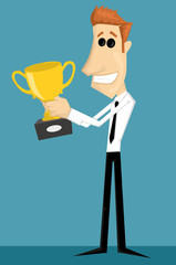 Cartoon office worker with with a trophy
