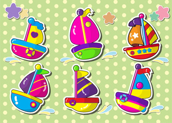 set of sailboat.vector cartoon style sticker.