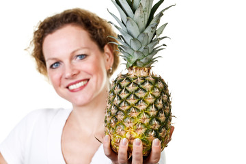 woman with a pineapple