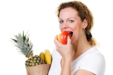 woman eats healthy
