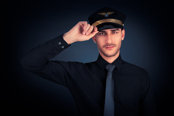 Pilot Salute Low Key Portrait