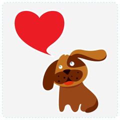 Cute dog with heart shape speech bubble