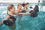 Smiling female fitness class doing aqua aerobics with foam dumbb