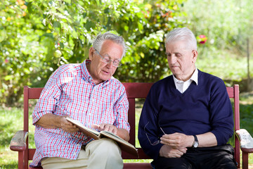 Seniors with book in park