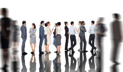 Composite image of many business people standing in a line