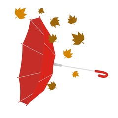 Paraguas invertido rojo sin fondo