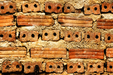 Red brick wall horizontal background.