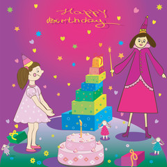 Happy Birthday Gift girl cake and fairy