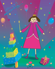 Happy Birthday Illustration of gift balloons and fairy