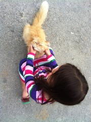 little girl with persian cat