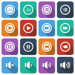audio and music flat icon set, flat design icon, vector eps10