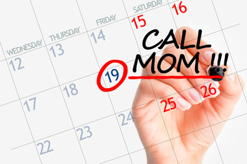 Call mom date on calendar reminder