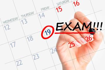 Exam date reminder